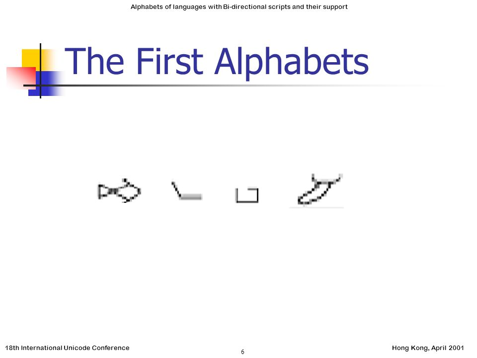 18th International Unicode ConferenceHong Kong, April 2001 Alphabets of languages with Bi-directional scripts and their support 6 The First Alphabets