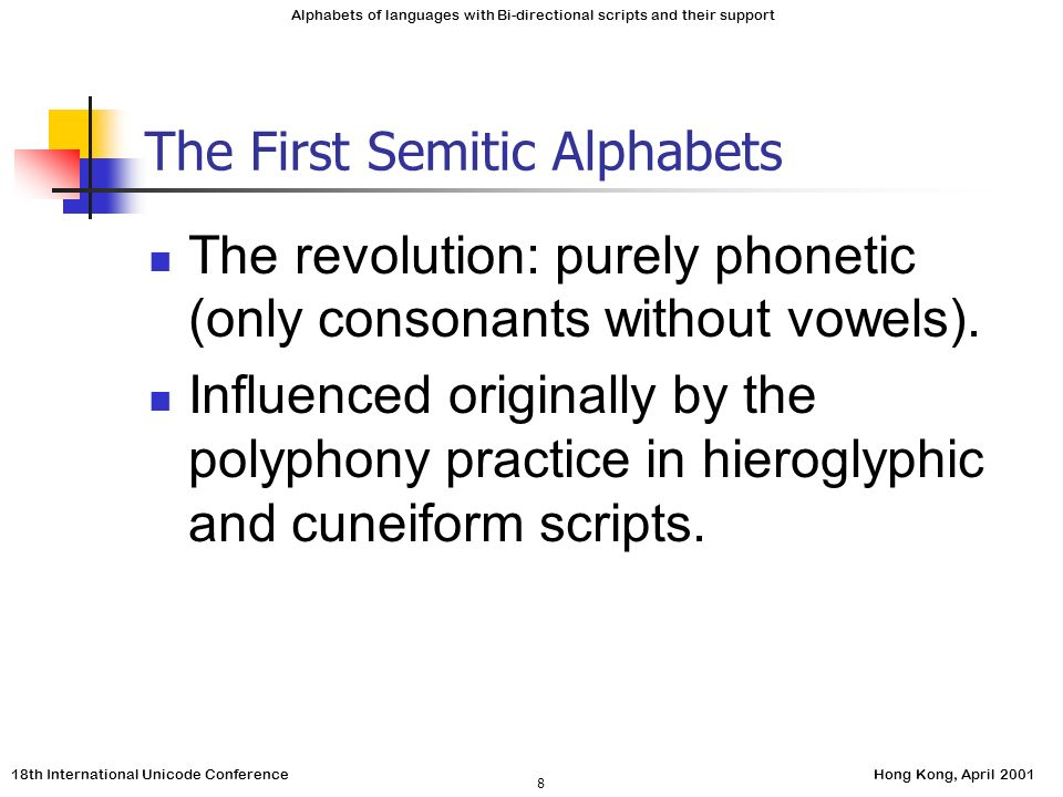 18th International Unicode ConferenceHong Kong, April 2001 Alphabets of languages with Bi-directional scripts and their support 8 The First Semitic Alphabets The revolution: purely phonetic (only consonants without vowels).