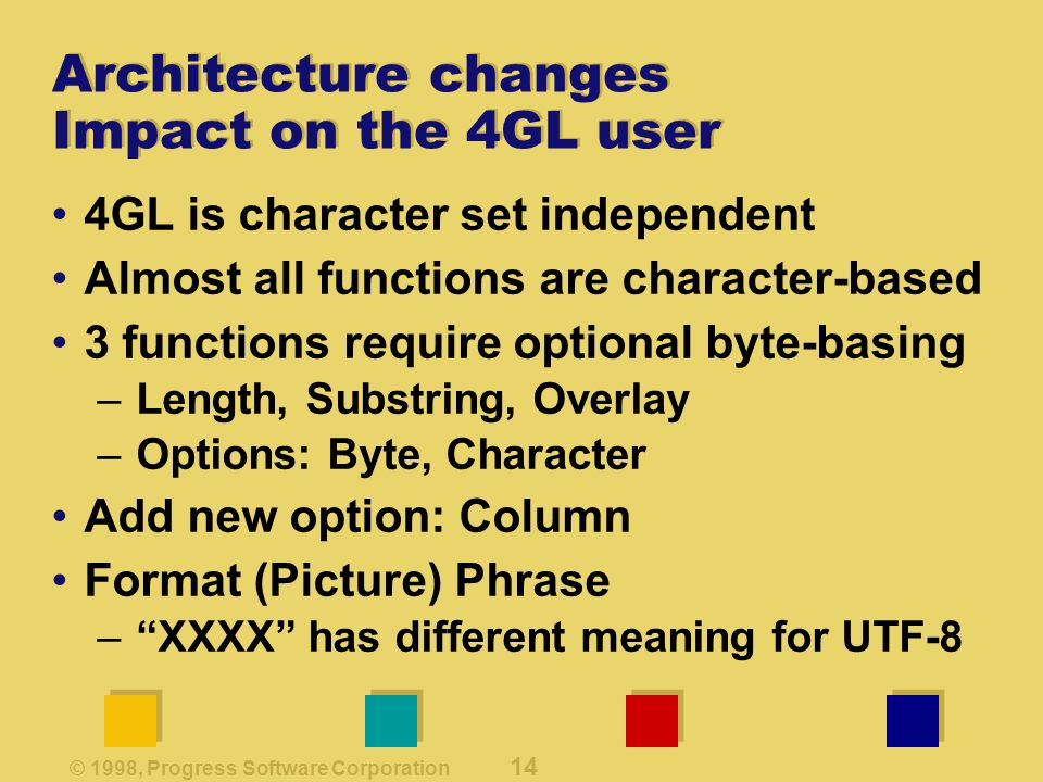 © 1998, Progress Software Corporation 14 Architecture changes Impact on the 4GL user 4GL is character set independent Almost all functions are character-based 3 functions require optional byte-basing –Length, Substring, Overlay –Options: Byte, Character Add new option: Column Format (Picture) Phrase –XXXX has different meaning for UTF-8