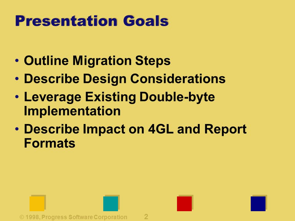 © 1998, Progress Software Corporation 2 Presentation Goals Outline Migration Steps Describe Design Considerations Leverage Existing Double-byte Implementation Describe Impact on 4GL and Report Formats