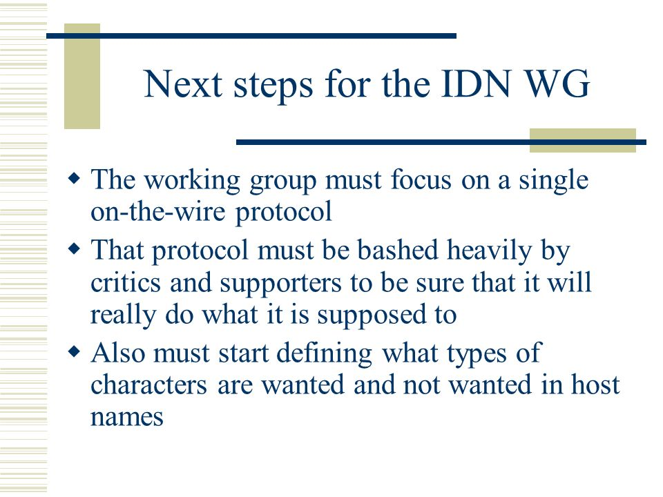Next steps for the IDN WG The working group must focus on a single on-the-wire protocol That protocol must be bashed heavily by critics and supporters to be sure that it will really do what it is supposed to Also must start defining what types of characters are wanted and not wanted in host names