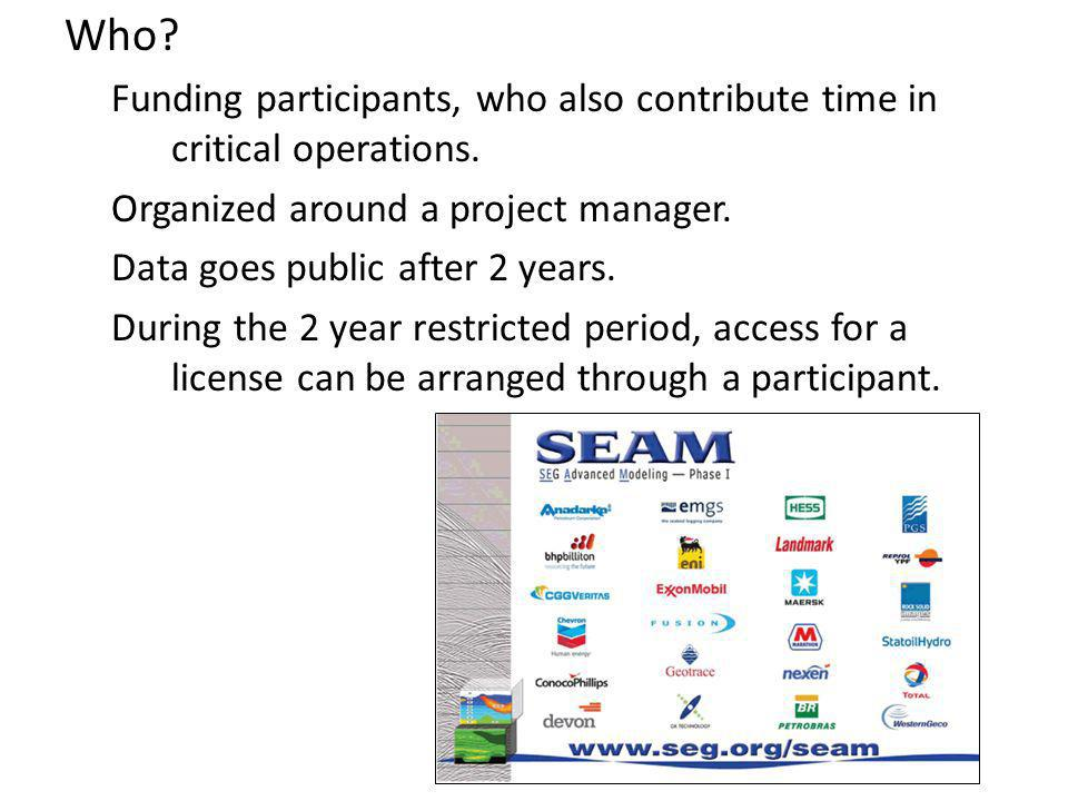 Who. Funding participants, who also contribute time in critical operations.