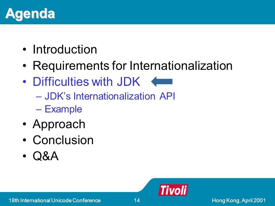Hong Kong, April 200118th International Unicode Conference14 Agenda Introduction Requirements for Internationalization Difficulties with JDK –JDKs Internationalization API –Example Approach Conclusion Q&A
