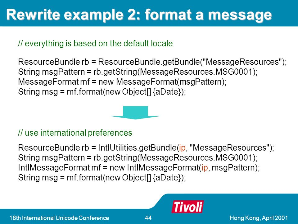 Hong Kong, April th International Unicode Conference44 Rewrite example 2: format a message ResourceBundle rb = IntlUtilities.getBundle(ip, MessageResources ); String msgPattern = rb.getString(MessageResources.MSG0001); IntlMessageFormat mf = new IntlMessageFormat(ip, msgPattern); String msg = mf.format(new Object[] {aDate}); // use international preferences // everything is based on the default locale ResourceBundle rb = ResourceBundle.getBundle( MessageResources ); String msgPattern = rb.getString(MessageResources.MSG0001); MessageFormat mf = new MessageFormat(msgPattern); String msg = mf.format(new Object[] {aDate});