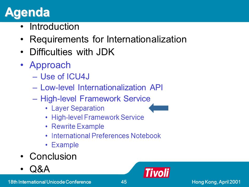 Hong Kong, April th International Unicode Conference45 Agenda Introduction Requirements for Internationalization Difficulties with JDK Approach –Use of ICU4J –Low-level Internationalization API –High-level Framework Service Layer Separation High-level Framework Service Rewrite Example International Preferences Notebook Example Conclusion Q&A