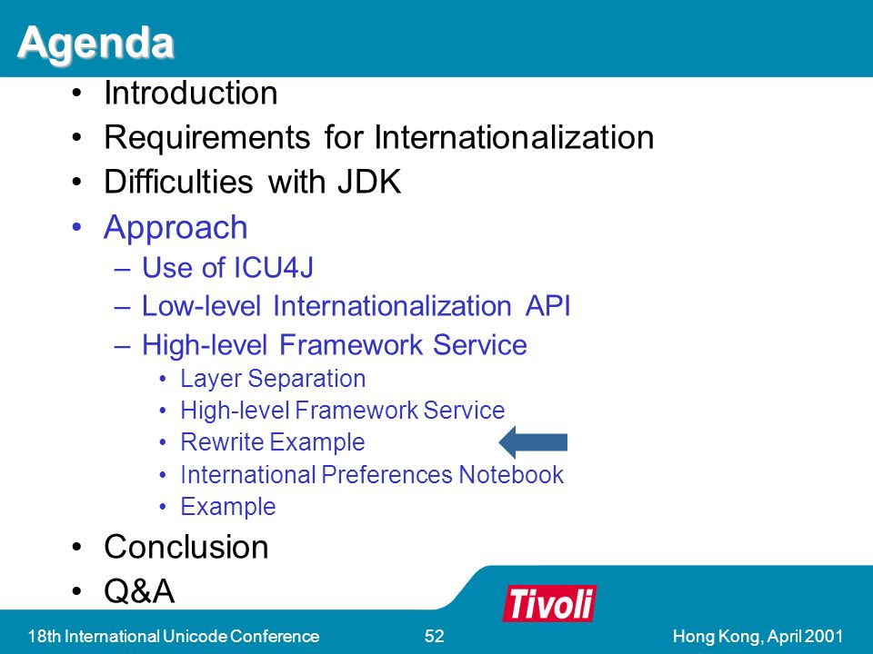 Hong Kong, April 200118th International Unicode Conference52 Agenda Introduction Requirements for Internationalization Difficulties with JDK Approach –Use of ICU4J –Low-level Internationalization API –High-level Framework Service Layer Separation High-level Framework Service Rewrite Example International Preferences Notebook Example Conclusion Q&A