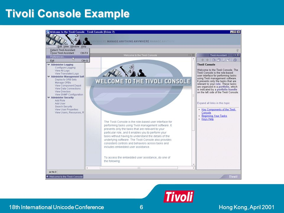 Hong Kong, April th International Unicode Conference6 Tivoli Console Example