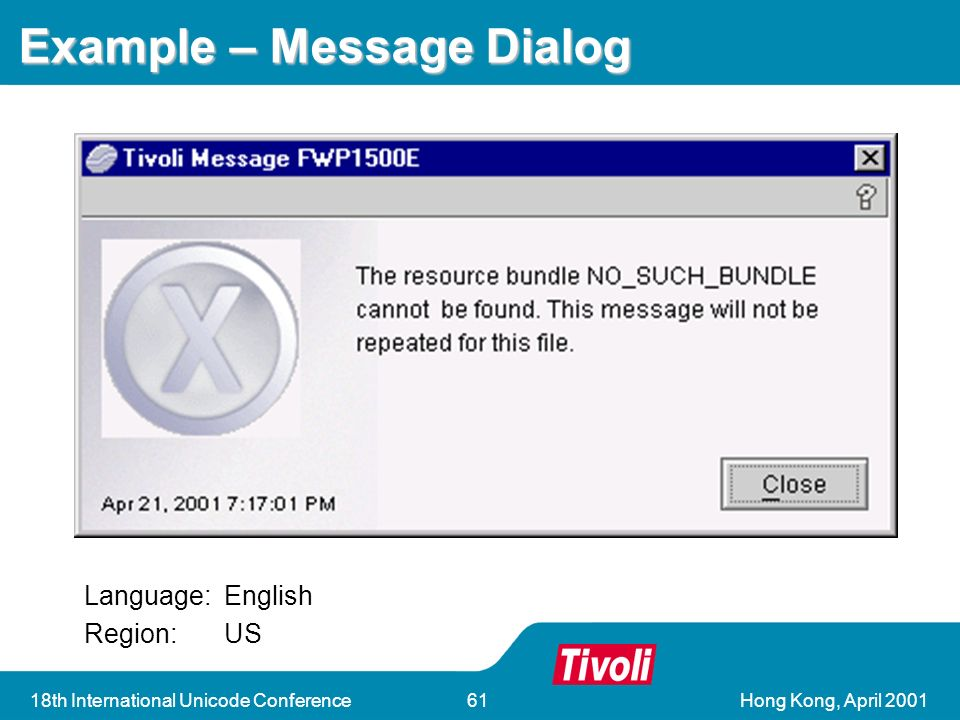 Hong Kong, April 200118th International Unicode Conference61 Example – Message Dialog Language:English Region:US