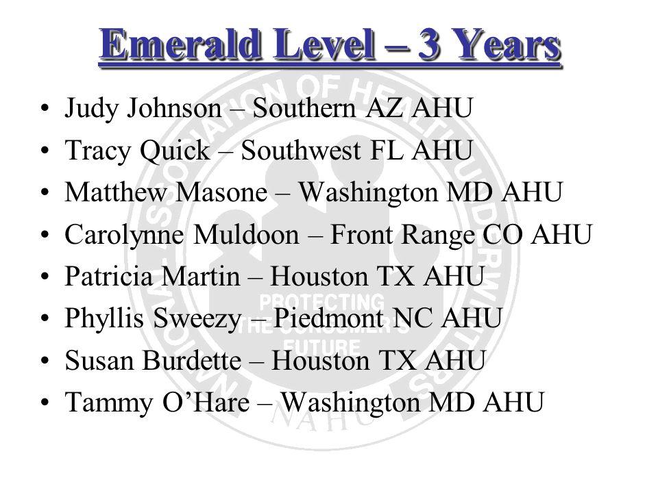 Emerald Level – 3 Years Judy Johnson – Southern AZ AHU Tracy Quick – Southwest FL AHU Matthew Masone – Washington MD AHU Carolynne Muldoon – Front Ran