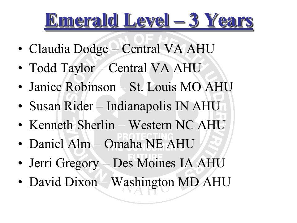 Emerald Level – 3 Years Claudia Dodge – Central VA AHU Todd Taylor – Central VA AHU Janice Robinson – St. Louis MO AHU Susan Rider – Indianapolis IN A
