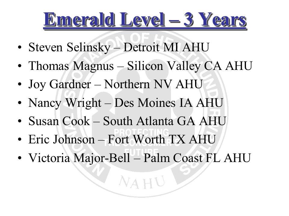 Emerald Level – 3 Years Steven Selinsky – Detroit MI AHU Thomas Magnus – Silicon Valley CA AHU Joy Gardner – Northern NV AHU Nancy Wright – Des Moines