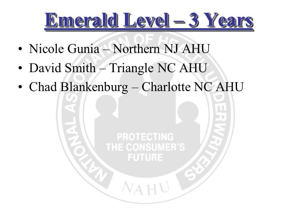 Emerald Level – 3 Years Nicole Gunia – Northern NJ AHU David Smith – Triangle NC AHU Chad Blankenburg – Charlotte NC AHU