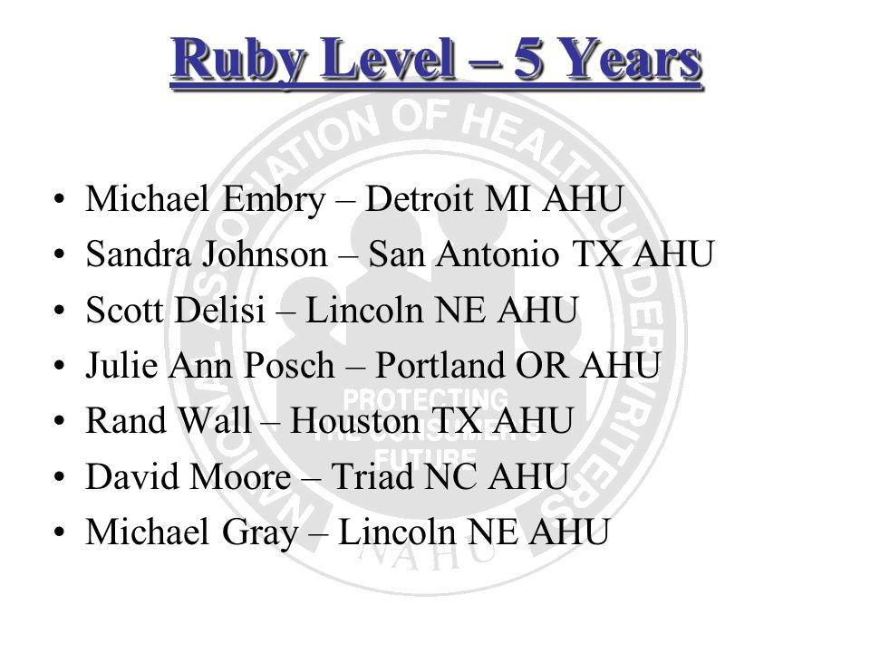Ruby Level – 5 Years Michael Embry – Detroit MI AHU Sandra Johnson – San Antonio TX AHU Scott Delisi – Lincoln NE AHU Julie Ann Posch – Portland OR AH