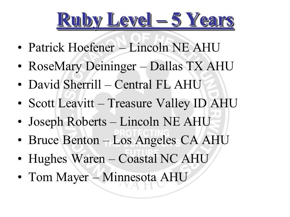Ruby Level – 5 Years Patrick Hoefener – Lincoln NE AHU RoseMary Deininger – Dallas TX AHU David Sherrill – Central FL AHU Scott Leavitt – Treasure Val