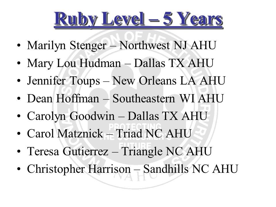 Ruby Level – 5 Years Marilyn Stenger – Northwest NJ AHU Mary Lou Hudman – Dallas TX AHU Jennifer Toups – New Orleans LA AHU Dean Hoffman – Southeaster