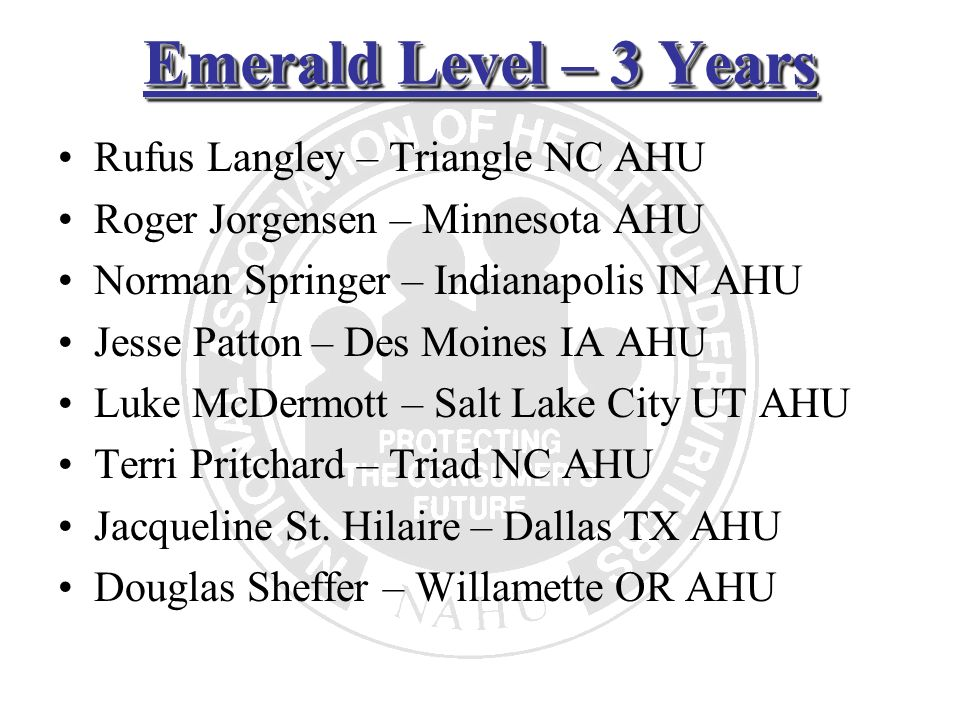 Emerald Level – 3 Years Rufus Langley – Triangle NC AHU Roger Jorgensen – Minnesota AHU Norman Springer – Indianapolis IN AHU Jesse Patton – Des Moine