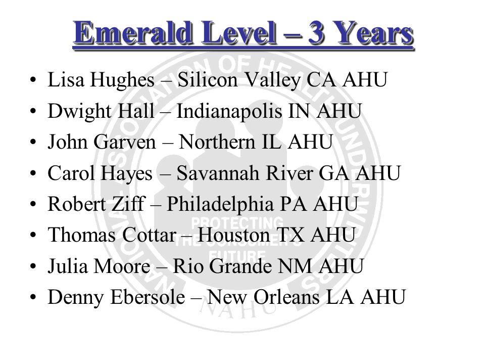 Emerald Level – 3 Years Lisa Hughes – Silicon Valley CA AHU Dwight Hall – Indianapolis IN AHU John Garven – Northern IL AHU Carol Hayes – Savannah Riv