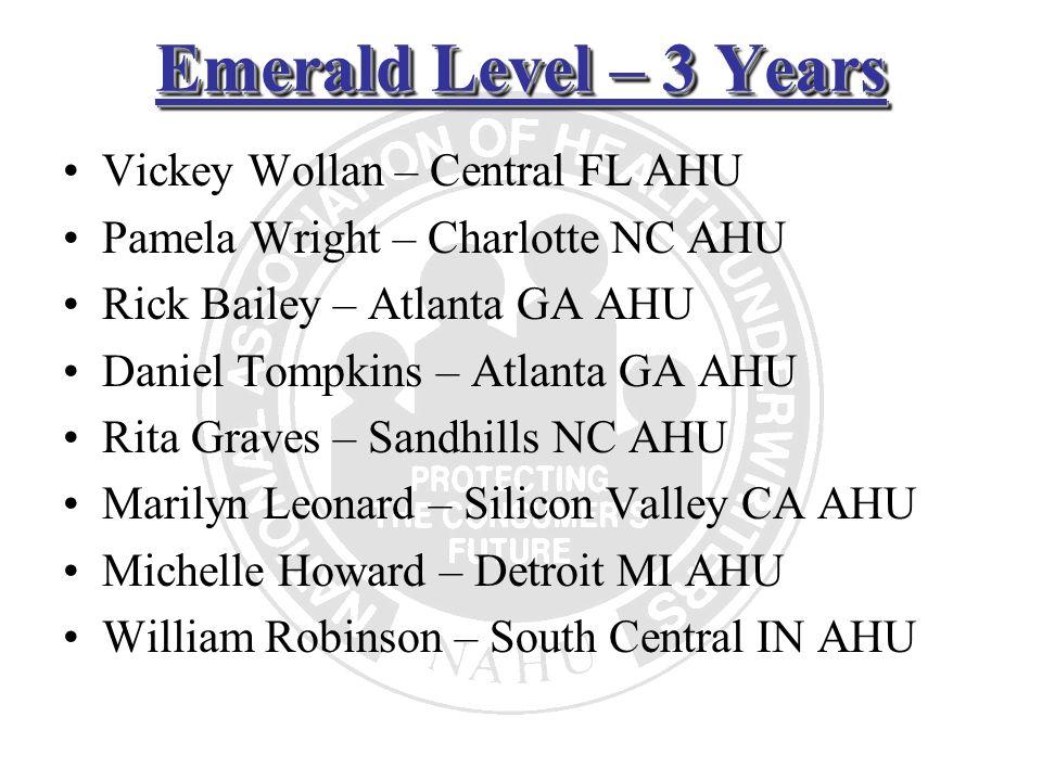 Emerald Level – 3 Years Vickey Wollan – Central FL AHU Pamela Wright – Charlotte NC AHU Rick Bailey – Atlanta GA AHU Daniel Tompkins – Atlanta GA AHU