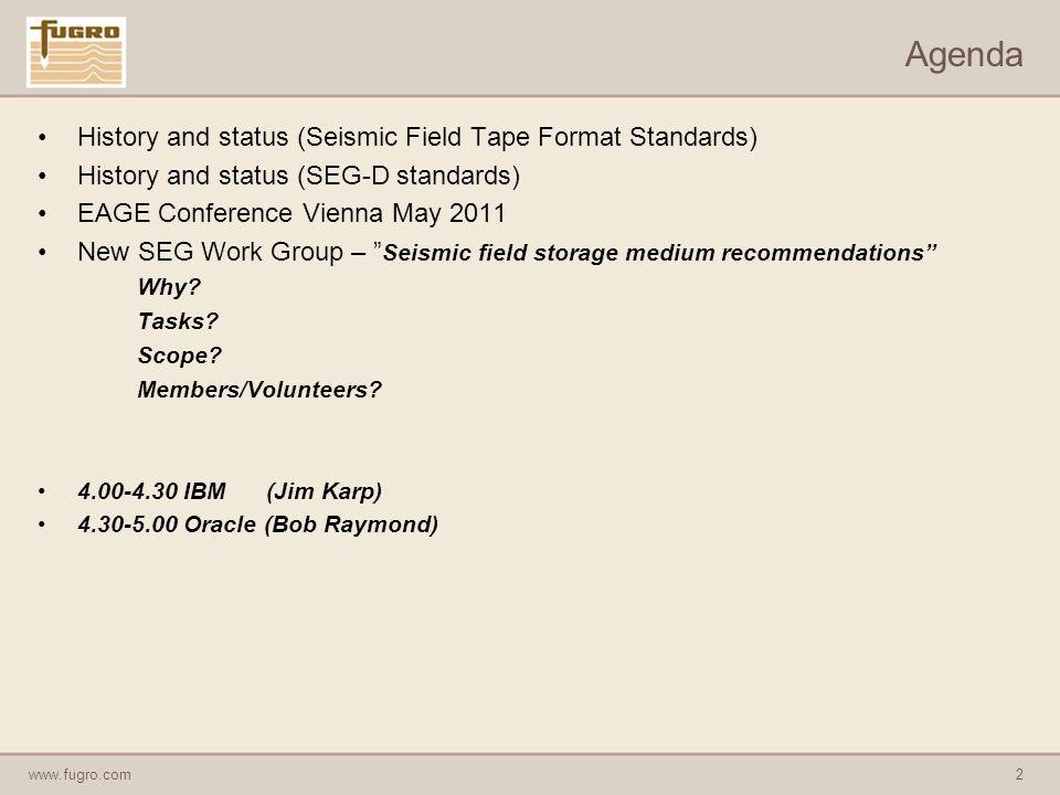 www.fugro.com3 Seismic field tape storage – history and status