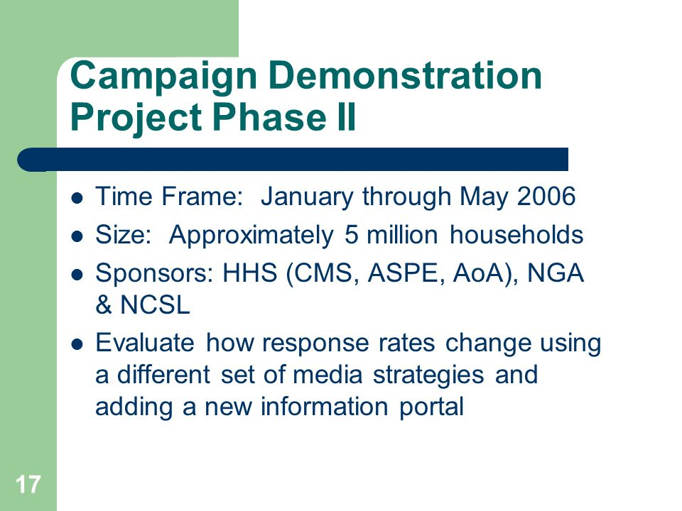 17 Campaign Demonstration Project Phase II Time Frame: January through May 2006 Size: Approximately 5 million households Sponsors: HHS (CMS, ASPE, AoA), NGA & NCSL Evaluate how response rates change using a different set of media strategies and adding a new information portal