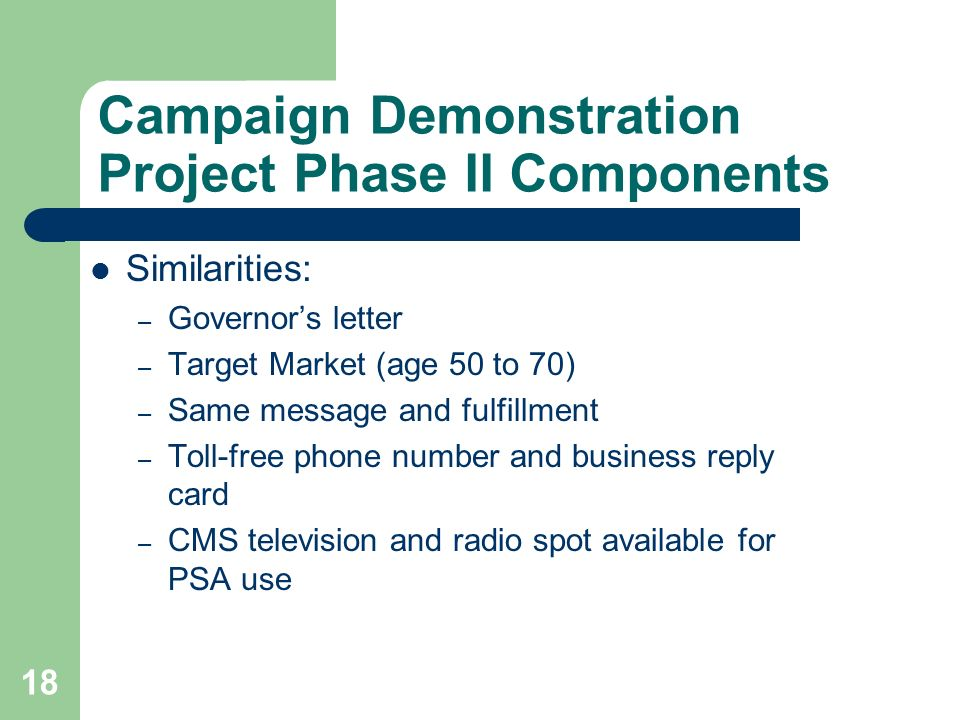 18 Campaign Demonstration Project Phase II Components Similarities: – Governors letter – Target Market (age 50 to 70) – Same message and fulfillment – Toll-free phone number and business reply card – CMS television and radio spot available for PSA use