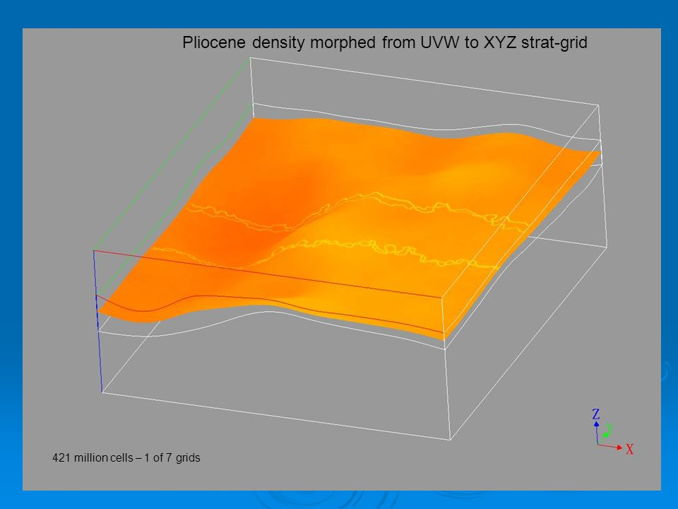 Pliocene density morphed from UVW to XYZ strat-grid 421 million cells – 1 of 7 grids