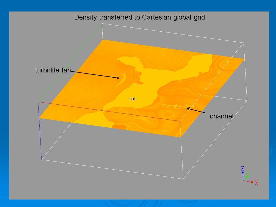 Density transferred to Cartesian global grid channel turbidite fan salt