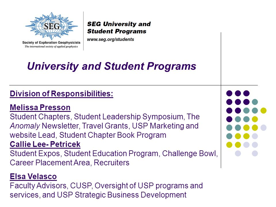 University and Student Programs Division of Responsibilities: Melissa Presson Student Chapters, Student Leadership Symposium, The Anomaly Newsletter,