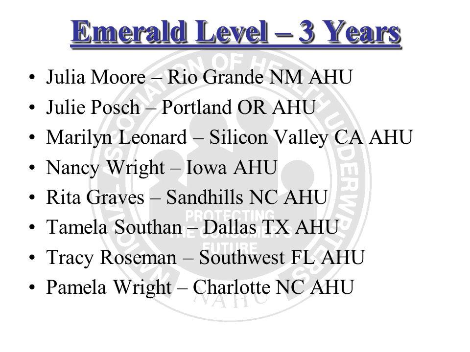 Emerald Level – 3 Years Julia Moore – Rio Grande NM AHU Julie Posch – Portland OR AHU Marilyn Leonard – Silicon Valley CA AHU Nancy Wright – Iowa AHU