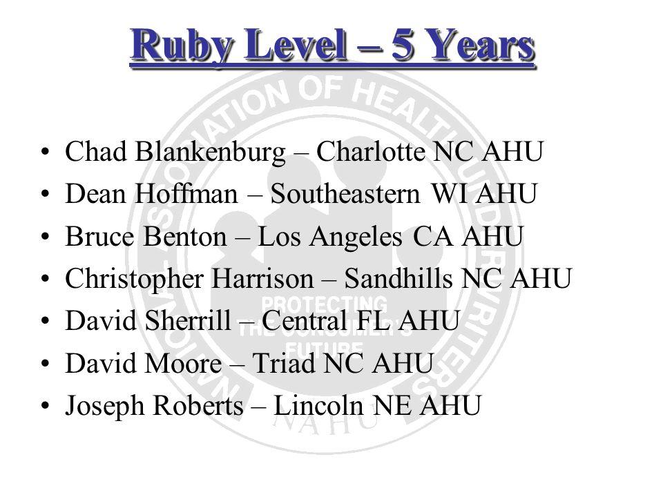Ruby Level – 5 Years Chad Blankenburg – Charlotte NC AHU Dean Hoffman – Southeastern WI AHU Bruce Benton – Los Angeles CA AHU Christopher Harrison – S