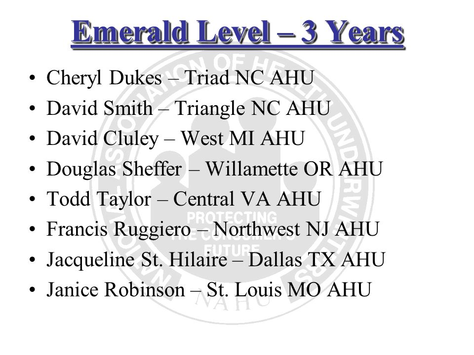 Emerald Level – 3 Years Cheryl Dukes – Triad NC AHU David Smith – Triangle NC AHU David Cluley – West MI AHU Douglas Sheffer – Willamette OR AHU Todd