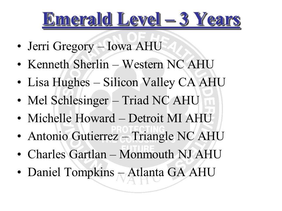 Emerald Level – 3 Years Jerri Gregory – Iowa AHU Kenneth Sherlin – Western NC AHU Lisa Hughes – Silicon Valley CA AHU Mel Schlesinger – Triad NC AHU M