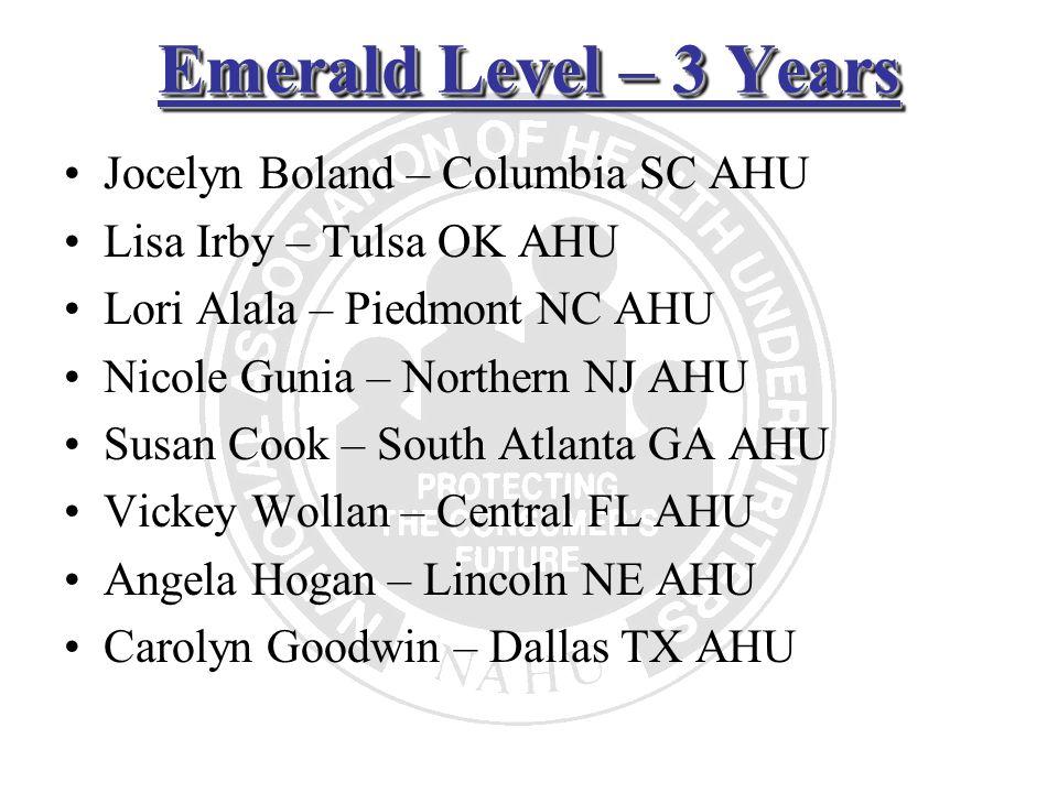 Emerald Level – 3 Years Jocelyn Boland – Columbia SC AHU Lisa Irby – Tulsa OK AHU Lori Alala – Piedmont NC AHU Nicole Gunia – Northern NJ AHU Susan Co