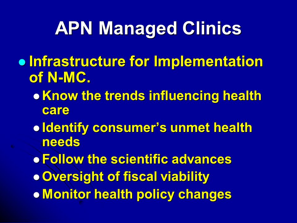 APN Managed Clinics Infrastructure for Implementation of N-MC.