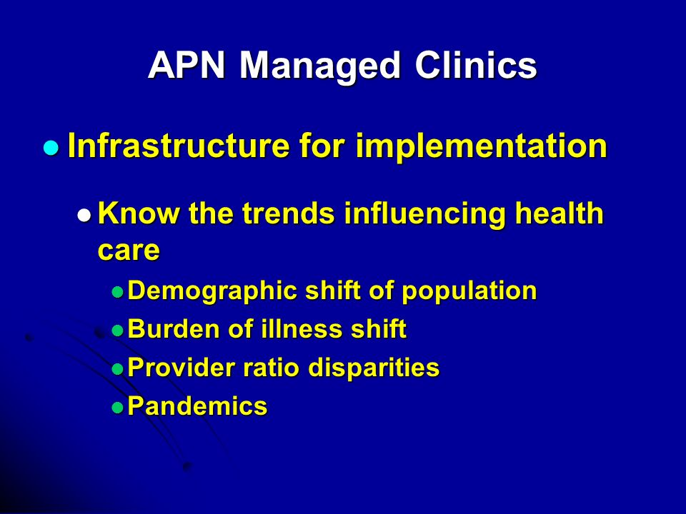 APN Managed Clinics Infrastructure for implementation Infrastructure for implementation Know the trends influencing health care Know the trends influe