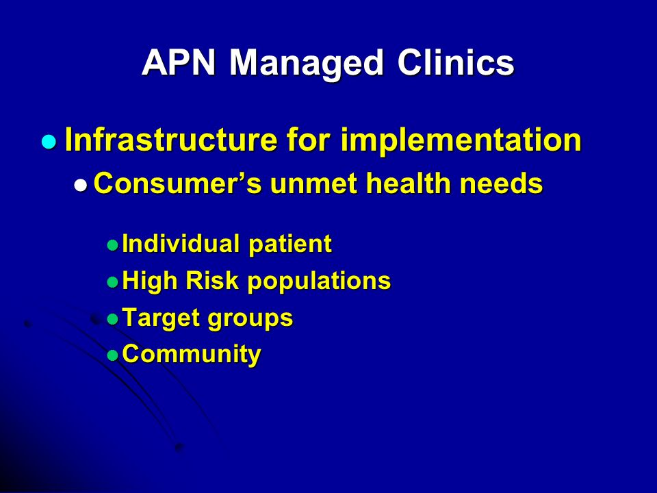 APN Managed Clinics Infrastructure for implementation Infrastructure for implementation Consumers unmet health needs Consumers unmet health needs Individual patient Individual patient High Risk populations High Risk populations Target groups Target groups Community Community