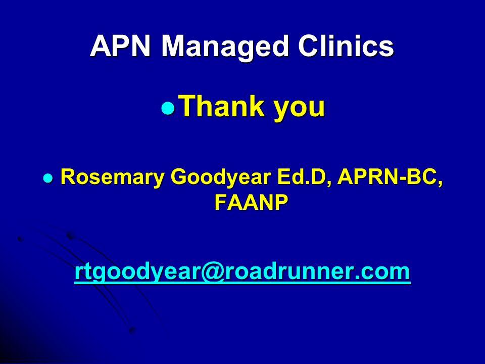 APN Managed Clinics Thank you Thank you Rosemary Goodyear Ed.D, APRN-BC, FAANP Rosemary Goodyear Ed.D, APRN-BC, FAANP rtgoodyear@roadrunner.com