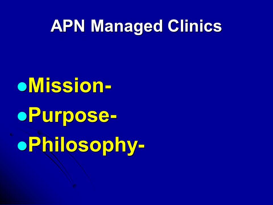 APN Managed Clinics Mission- Mission- Purpose- Purpose- Philosophy- Philosophy-