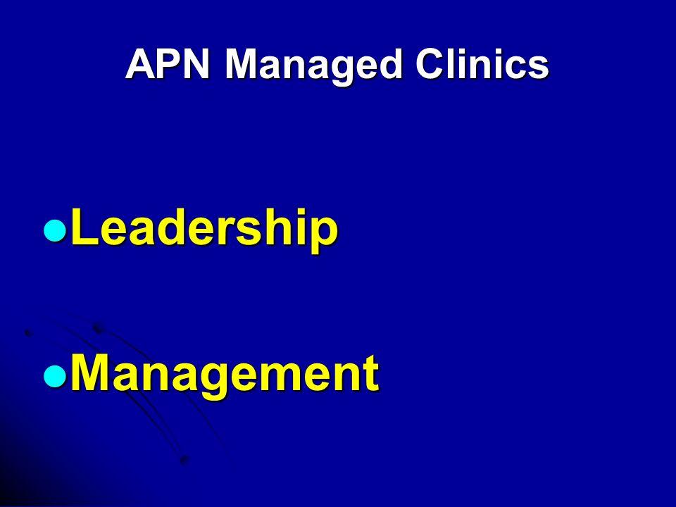 APN Managed Clinics Leadership Leadership Management Management