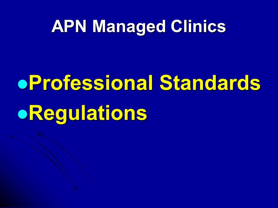 APN Managed Clinics Professional Standards Professional Standards Regulations Regulations