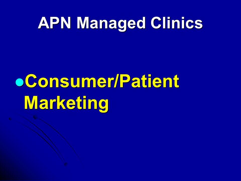 APN Managed Clinics Consumer/Patient Marketing Consumer/Patient Marketing