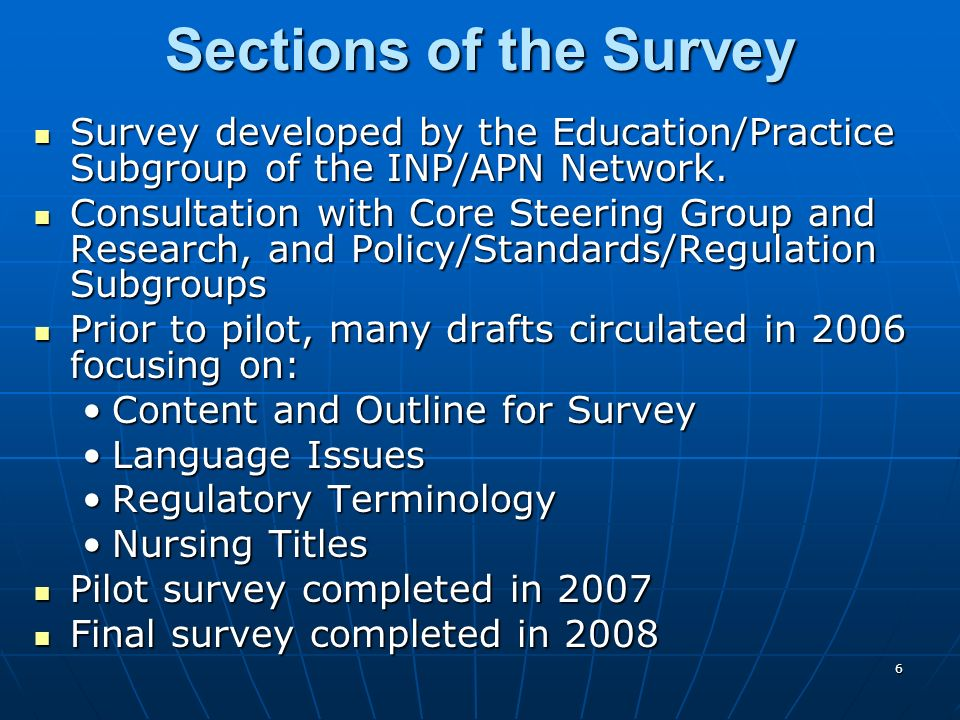 7 In spring of 2008, a web-based survey was sent to 174 key informants who were members of the International Nurse Practitioner/ Advanced Practice Nursing Network (INP/APNN) using survey monkey.