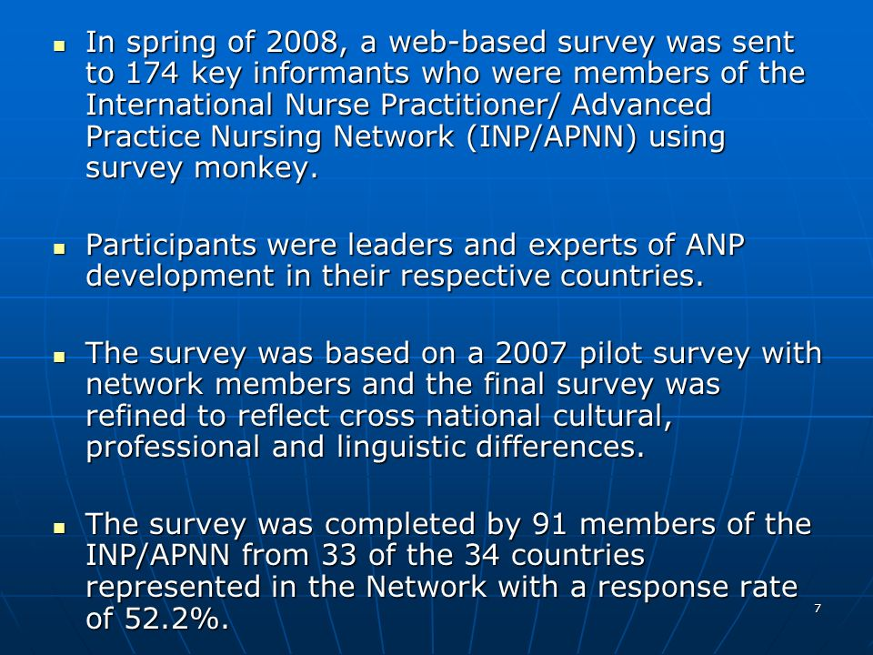 38 Opposition to the NP/APN Role Other opponents Other opponents Nurse leadersNurse leaders Universities where nursing is taughtUniversities where nursing is taught Certain hospitalsCertain hospitals Government agenciesGovernment agencies Summary: Support for the NP/APN role was found primarily in domestic nursing organizations and the government, while opposition came mostly from domestic physician organizations and other nurses.