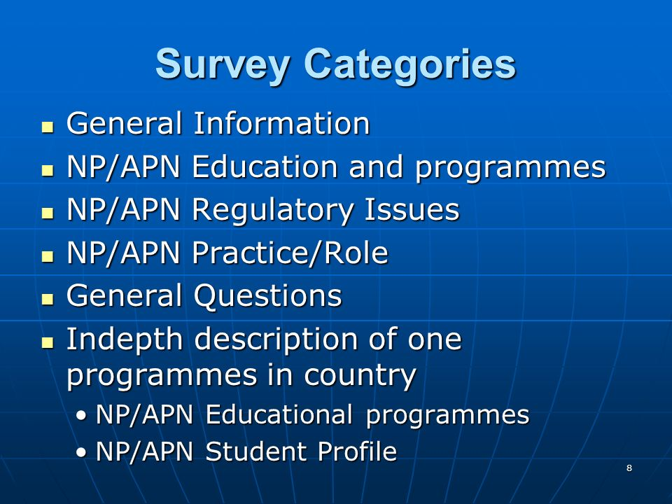 39 NP/APN Involvement in Policy Policy or health care planning (79 Respondents) Policy or health care planning (79 Respondents) 76.9% stated that NPs/APNs participate at the local level76.9% stated that NPs/APNs participate at the local level 61.3% stated that NPs/APNs participate at the national level61.3% stated that NPs/APNs participate at the national level 85% said that NP/APNs are organized as a professional group in the country (80 Respondents) 85% said that NP/APNs are organized as a professional group in the country (80 Respondents) Professional organizations identified most frequently as the national nurses association rather than specific NP/APN organizationsProfessional organizations identified most frequently as the national nurses association rather than specific NP/APN organizations