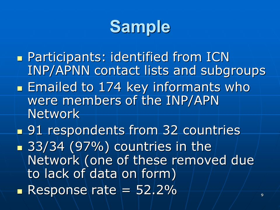 20 SPECIALTIES OR TYPES OF NP/APNS EDUCATED IN THE NP/APN PROGRAMMES (22 COUNTRIES)