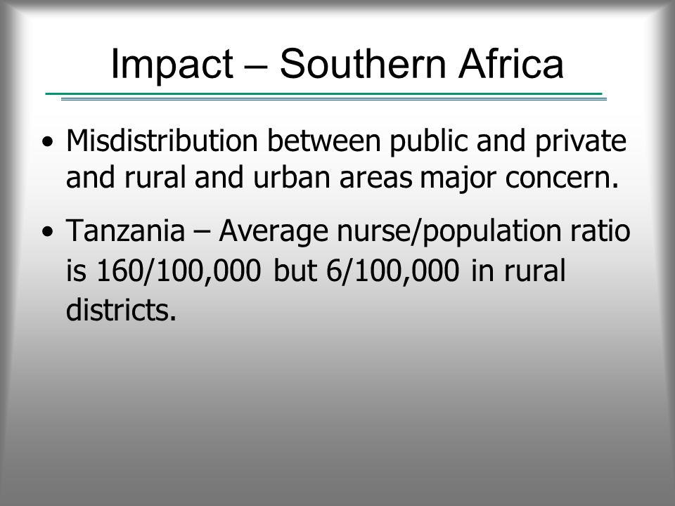 Impact – Southern Africa Misdistribution between public and private and rural and urban areas major concern.