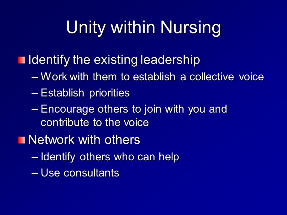 Unity within Nursing Identify the existing leadership –Work with them to establish a collective voice –Establish priorities –Encourage others to join with you and contribute to the voice Network with others –Identify others who can help –Use consultants