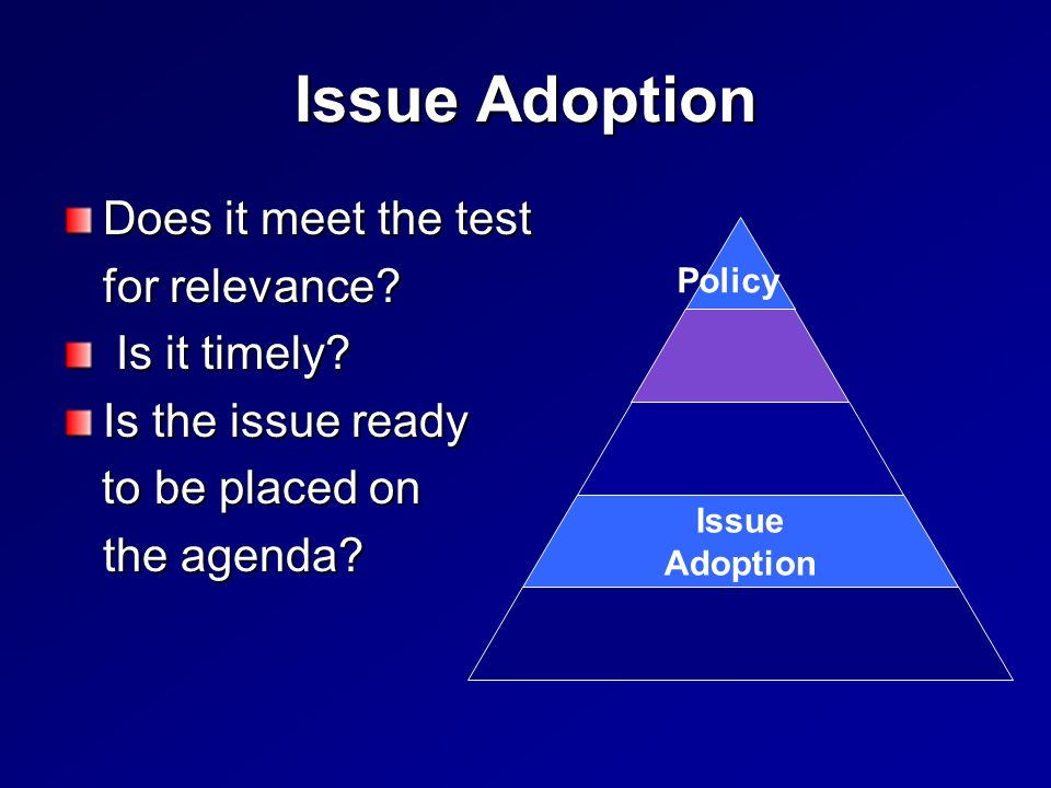 Issue Adoption Does it meet the test for relevance.