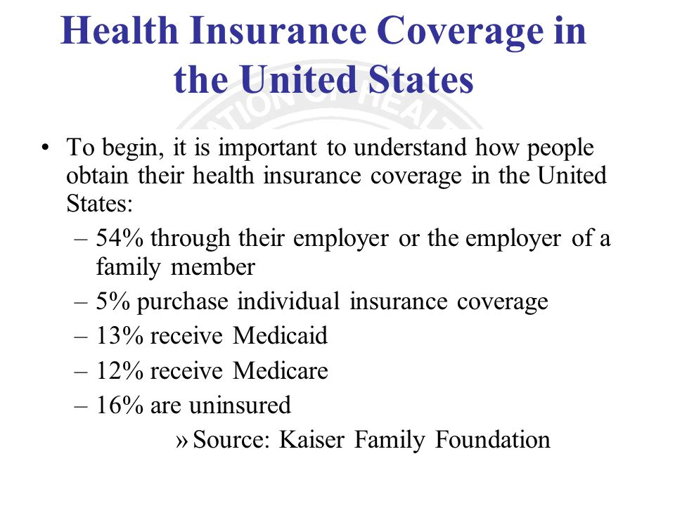 Health Insurance Coverage in the United States To begin, it is important to understand how people obtain their health insurance coverage in the United