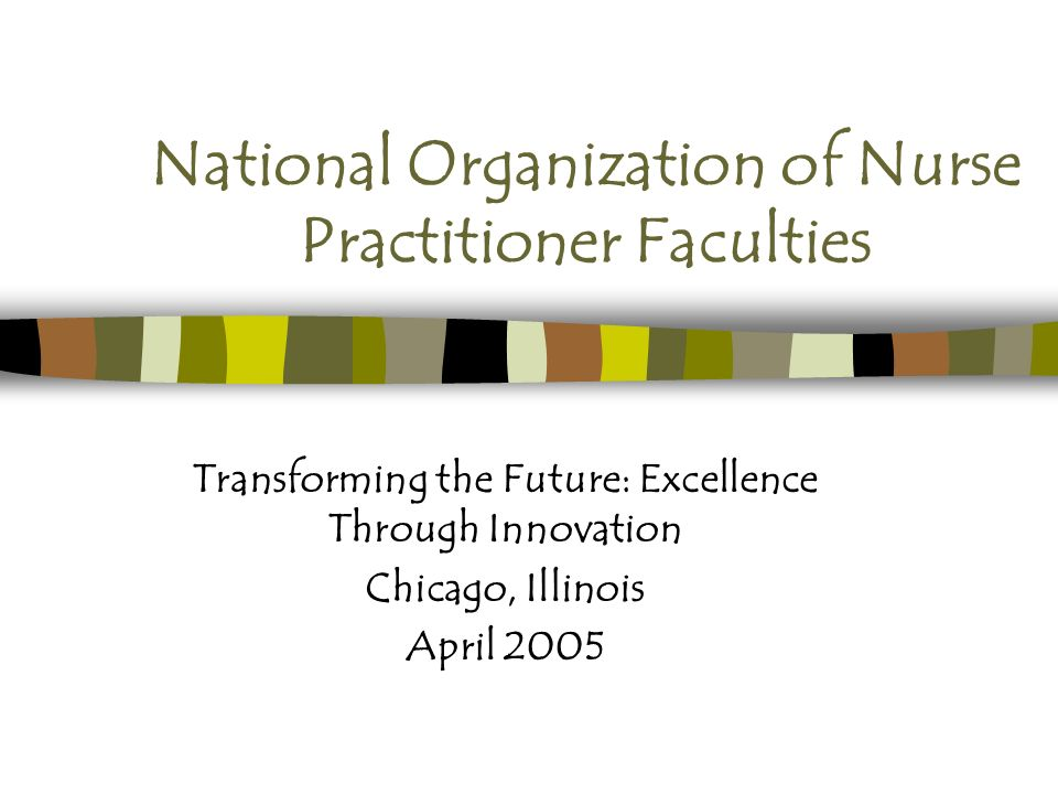 National Organization of Nurse Practitioner Faculties Transforming the Future: Excellence Through Innovation Chicago, Illinois April 2005